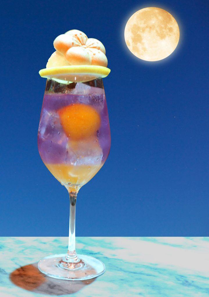 The CHOYA梅クリソ満月背景